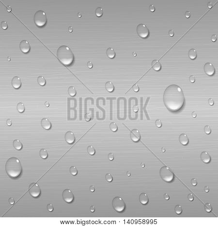 Water drops on a brushed metal background. Rain condensation on a bright steel iron aluminum surface template. Liquid droplets. Light clean dew rainy day abstract techno vector illustration.