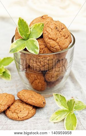 Delicious fresh baked oatmeal cookies. Homemade fresh baked oatmeal cookies