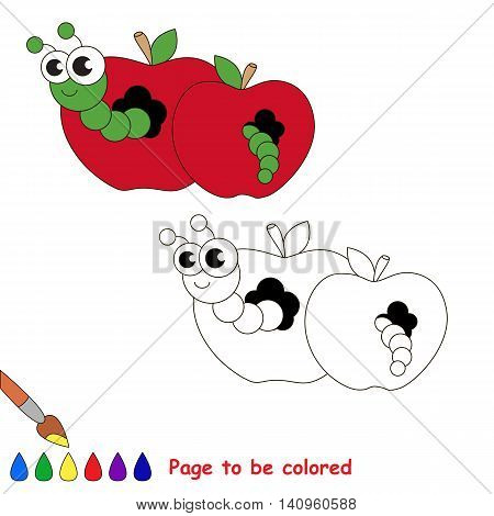 Red apple and worm to be colored. Coloring book to educate kids. Learn colors. Visual educational game. Easy kid gaming and primary education. Simple level of difficulty. Coloring pages.