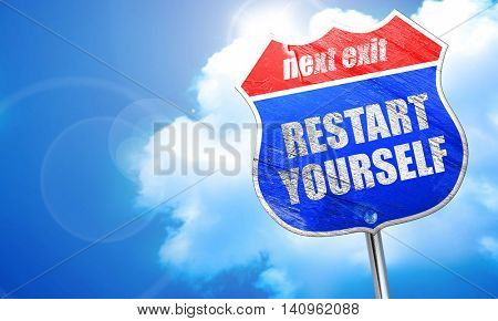 restart yourself, 3D rendering, blue street sign
