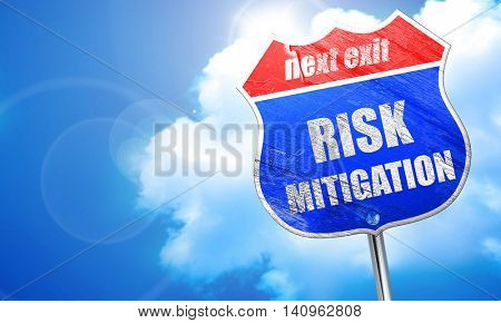 Risk mitigation sign, 3D rendering, blue street sign