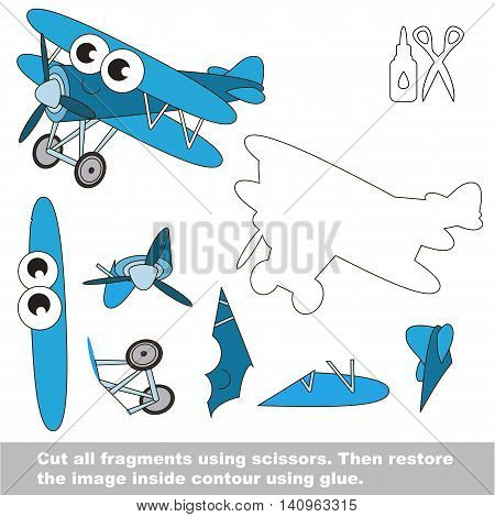 Use scissors and glue and restore the picture inside the contour. Easy educational paper game for kids. Simple kid application with Biplane.