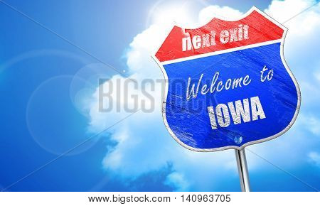 Welcome to iowa, 3D rendering, blue street sign