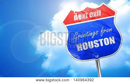 Greetings from houston, 3D rendering, blue street sign