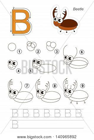 Complete vector illustrated alphabet with kid games. Learn handwriting. Easy educational kid game. Simple level of difficulty. Gaming and education. Drawing tutorial for letter B. The Bug.