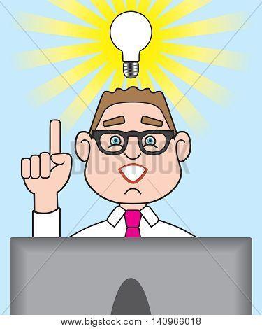Cartoon man at computer has just suddenly had a great idea