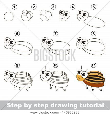 Drawing tutorial for children. Easy educational kid game. Simple level of difficulty. Kid education and gaming. Indoor games for children. How to draw Potato bug.