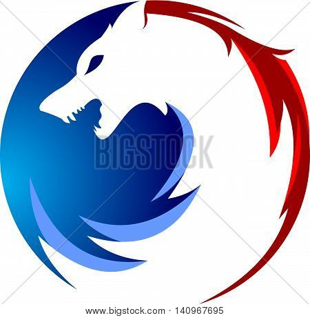 stock logo illustration wolf head circular element