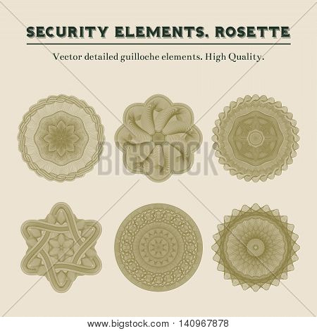 Security elements. Rosette. Vector detailed guilloche elements. High Quality.