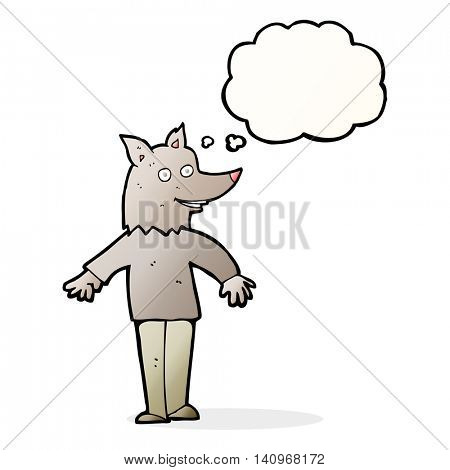 cartoon happy werewolf with thought bubble