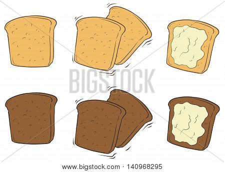 A vector illustration set of cartoon tasty toasted bread with butter
