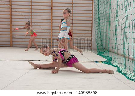 Warsaw Poland - June 25 2016:A group of small girls practicing before the competition