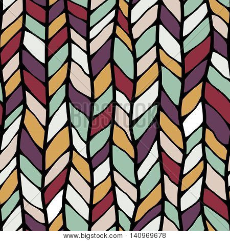 Seamless Sennit Pattern. Vector Multicolored Texture