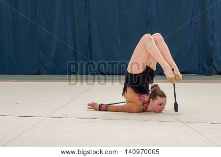 Warsaw Poland - June 25 2016: Young gymnast during her performance
