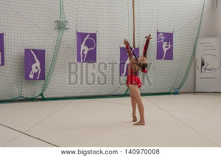 Warsaw Poland - June 25 2016: A gymnast with the jumping rope