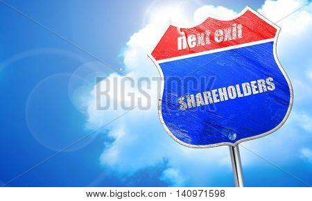 shareholders, 3D rendering, blue street sign