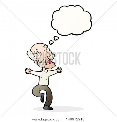 cartoon old man having a fright with thought bubble