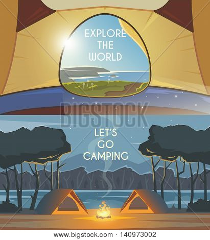 Vector flat web banners  on the theme of Climbing, Trekking, Hiking, Walking. Sports, Camping, outdoor recreation, adventures in nature, vacation. Modern flat design. Camping tent. Evening camp