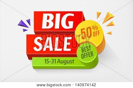 Big sale special offer bright colourful banner. 50 off. Vector illustration EPS 10