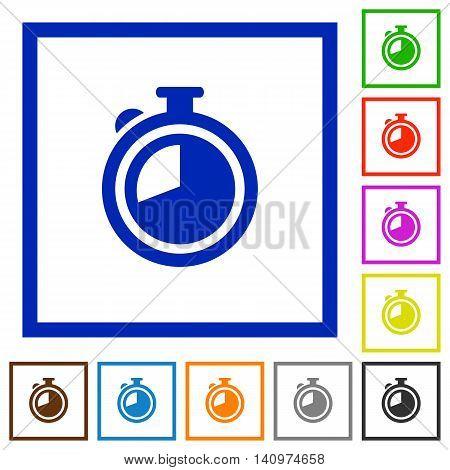 Set of color square framed timer flat icons