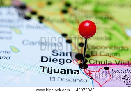Tijuana pinned on a map of Mexico