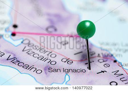 San Ignacio pinned on a map of Mexico
