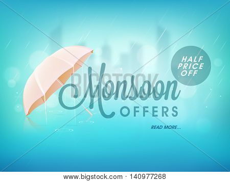 Monsoon Offers with Half Price Off, Creative Sale Poster, Banner or Flyer design with glossy umbrella on sky blue background.