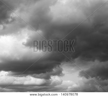 Storm sky rain. Thunderclouds over horizon dark gray.