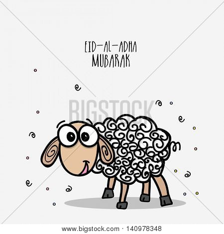 Muslim Community, Festival of Sacrifice, Eid-Al-Adha Celebration with illustration of a creative Sheep.