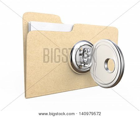 3d Illustration of Manila file Folder with lock and Key. Brown Paper Texture.
