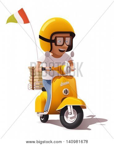 Vector retro pizza delivery scooter and pizza courier driver icon