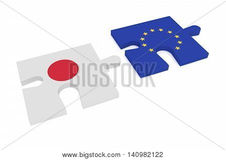 Partnership: Puzzle Pieces Japanese flag and EU Flag 3d illustration