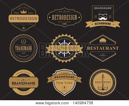 Set of classic company retro or old, vintage badges or banners, sign or logotype, labels and stickers with crown and star, ship steering wheel and anchor, glasses and moustache, laurel wreath