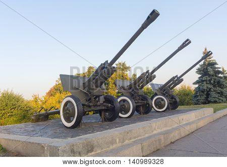 The 76-mm divisional gun M1942 (ZiS-3) on the monument. Kiev Ukraine