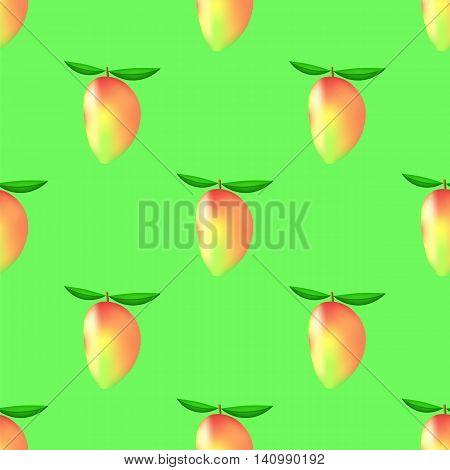Set of Fresh Mango on Green Background. Seamless Mango Fruit Pattern