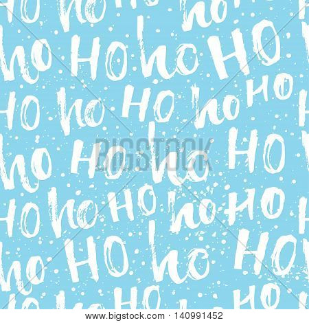 Hohoho pattern, Santa Claus laugh. Seamless texture for Christmas design. Vector blue background with lettering