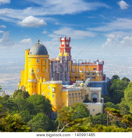 Famous Landmark - Nacional Palace of  Pena and blue sky - Sintra, Lisboa, Portugal, Europe