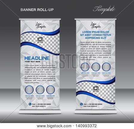 Blue Roll up banner template vector stand flyer design banner design white polygon background