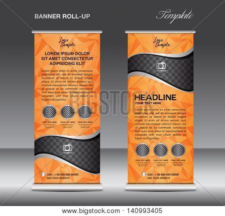 Orange Roll up banner template vector stand flyer design banner design white polygon background