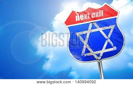 Star of david, 3D rendering, blue street sign