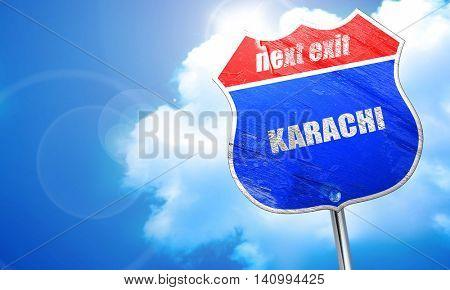 karachi, 3D rendering, blue street sign