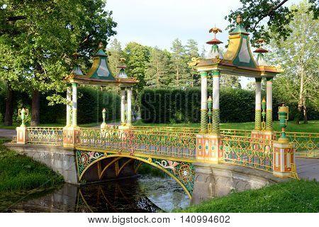 Chinese bridge in Alexander Park in Tsarskoe Selo suburb of St.Petersburg Russia.