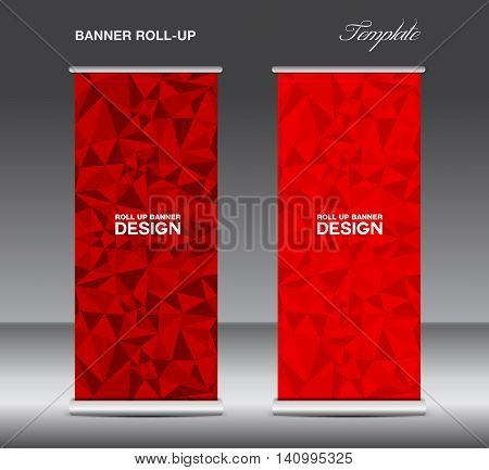red Roll up banner template vector polygon background banner design