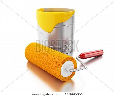3d renderer image. Full paint bucket and paint roller. Isolated white background.