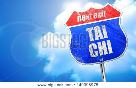 Tai chi, 3D rendering, blue street sign
