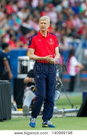 CARSON, CA - JULY 31: Arsenal manager Arsene Wenger during the friendly soccer game between Chivas Guadalajara and Arsenal on July 31st 2016 at the StubHub Center.