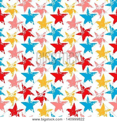 Colorful worn out grunge stars prints seamless pattern, vector background