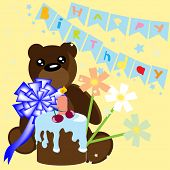 Happy birthday card with bear and cake poster