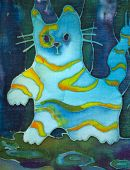 Hand made drawing on textile..Blue abstract cat poster