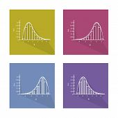 Flat Icons, Illustration Collection of Gaussian Bell Chart or Normal Distribution Curve and Not Normal Distribution Curve. poster